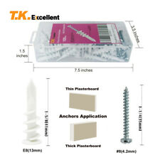 T.K.Excellent Plastic Self Drilling Drywall Anchors with Screws Kit,100 Pieces