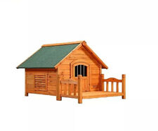 Wooden Dog House with Porch Small Pet Puppy Bed Platform Indoor Outdoor Shelter