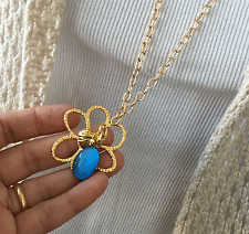 Fashion Jewelry long chain Sweater necklace with flower pendant Made in USA