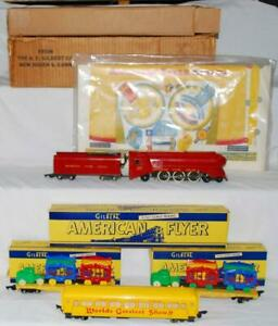 American Flyer 5002 Circus Set BOXED 1950 + unused cutouts streamlined engine S