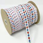 144 yd Floral JACQUARD Red Blue Flowers on White Ribbon Cotton TRIM, 1/2