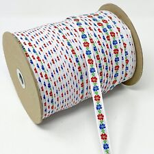 """144 yd Floral Jacquard Red Blue Flowers on White Ribbon Cotton Trim, 1/2"""" wide"""