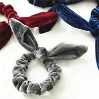 Velvet Stretch Bow knot Bunny Ears Scrunchies Hair Tie Hair Ring Ponytail Holder