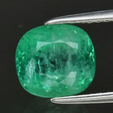 Attractive! 2.70ct 8x7.3mm Cushion Natural Green Emerald, Ethiopia