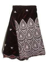 """Burgundy W/White Border embroidered Fabric 50"""" Width Sold By The Yard"""
