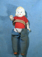 """Vintage Jointed Bisque Porcelain 4"""" Doll Blonde Hair Made in Japan"""