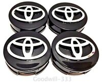 4 x TOYOTA WHEEL CENTER HUB CAP GLOSS BLACK CHROME LOGO 62MM - FASTSHIPPING