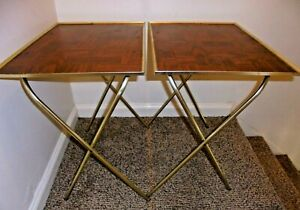 2 Vintage Mid Century TV Trays Tables Faux Parquet Wood Metal with Stands