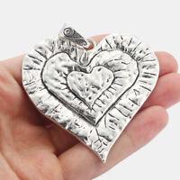 """Sugar Tits Retro Cameo Necklace Ornate Metal Silver Filigree Frame 18/"""" Chain"""