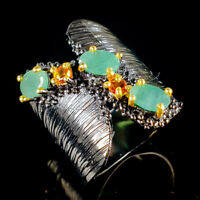 Unique Jewelry Natural Emerald 925 Sterling Silver Ring Size 7.5/R113963