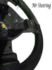 Per Vauxhall Zafira nero perforato in pelle Volante Copertura Verde Stitch