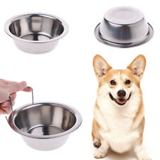 Stainless Steel Cage Coop Cup Bird Cat Dog Puppy Food Water Bowl Hanging Hook
