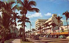 MIAMI BEACH FLORIDA  PALM STUDDED LINCOLN ROAD FASHIONABLE SHOPS POSTCARD 1950s