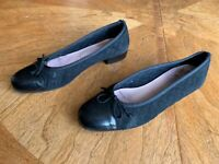 Good Year Made in Spain Ladies Shoes Black Genuine Leather Suede Size 39 1/2(EU)