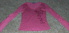 KUDU pink top,long open bell slv,floral embroidered front,v neck,very soft Sz XS