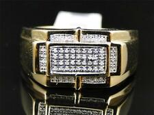 Mens Yellow Gold Finish White Diamond Engagement Designer Band Pinky Ring