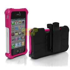 New Original Ballistic SG MAXX Case For iPhone 4 4S Pink / White + Belt Clip