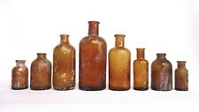 Vintage Amber Glass Medicine Pharmacy Bottles - Found While Digging - Lot of 8