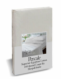 LUXURY HOTEL QUALITY 100% EGYPTIAN COTTON FITTED SHEET PLAIN DYED CREAM