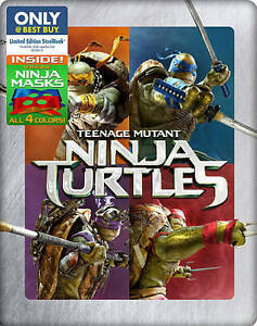 Teenage Mutant Ninja Turtles (Blu-ray/DVD, 2014) Steelbook no masks