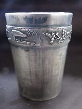 SERT OF 3 BEAKERS, STERLING SILVER, ASIAN, CHASED/ ENGRAVED. VIETNAM, MARKED