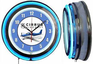"Cirrus Aircraft Blue 19"" Double Blue Neon Clock Chrome Finish Man Cave Hanger"