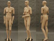 Flexible Arms Fiberglass Female Mannequin Fleshtone with Make-up Display#SARA-MD