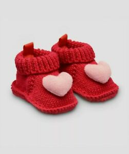Carter's Newborn Baby Girls Red Knit Slippers bootie