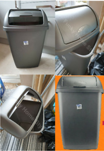 Plastic 50L Grey Lift Top Recycling Bin Rubbish Kitchen Storage Recycle Dustbin
