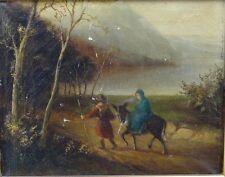 """anonymer Altmeister """"Flucht nach Ägypten"""", Öl/Leinen, Farbabplatzer  (209/12018)"""