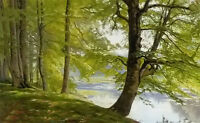 Oil painting christian peder morch zacho - landscape with trees by river canvas