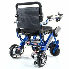 Geo Cruiser DX Lightweight Compact Folding Lithium Electric Wheelchair Blue