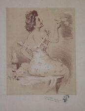 Jules Alexandre GRÜN (1868-1934) Dibujo AUTORRETRATO firma el Litografía