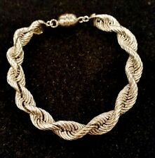 """14k white gold bold twisted rope bracelet w/ magnetic clasp, 7""""L,  8.2 grams"""