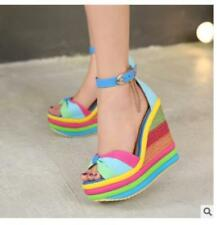 Womens Rainbow Colorful Wedge Sandals Peep-toe Platform Ankle Buckle Shoes pumps