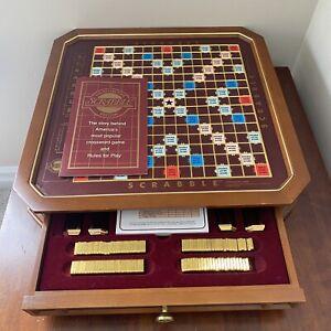 Vtg 1990 Franklin Mint Scrabble The Collector's Edition 24 Karat Gold Plated Set