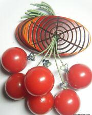 BAKELITE LOG & Dangling Cherries Brooch Original from 1940s Restored Cherry Pin