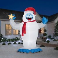 Christmas Inflatable Colossal 12' Bumble with Santa Hat Holding Star By Gemmy