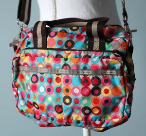 "LeSportSac Colorful Circle Print Crossbody Purse Messenger Bag ""Spring Flowers"""