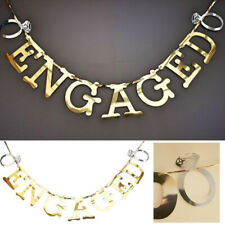 Gold Mirror Shiny Engaged Banner Engagement Wedding Party Decoration + Rings UK