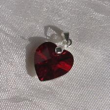 1 pendentif coeur rouge 14mm avec bélière porte-pierre en métal argenté *CH4