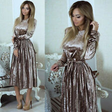 Womens Velvet Evening Casual Long Sleeve Party Dinner Beach Pleated Maxi Dress