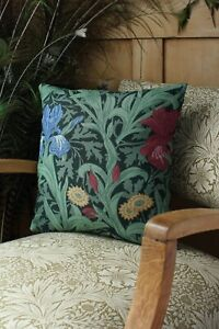 William Morris Cushion Cover Iris in Green Double sided
