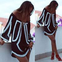 Womens Off Shoulder  Summer Mini Dress Ladies Party Casual Short Dress