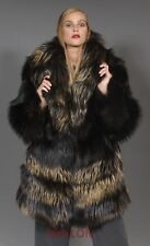 Black Fox Jacket Coat with Bronze Metallic dye - Size Medium