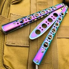 Butterfly Balisong Trainer Knife Training Dull Tool RAINBOW Metal Practice NEW