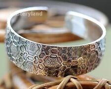 Tibetan Silber Damen Armband Armreifen Asia Flower regulierbar Schmuck TA05