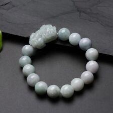 Certified Natural Hand-Carved PiXiu  Jadite Beads Bracelet 13mm