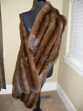 STUNNING LONG Russian Sable Fur Straight Stole Wrap Cape Coat