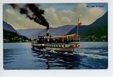 Steamer on Lake Como—Antique Ship PC Cartolina AK CPA Lago Boat 1924